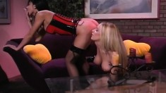 Blonde bombshell enjoys spanking her sexy girlfriend's firm butt