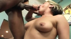 Sexy blonde wife with big tits cheats on her husband with a black guy