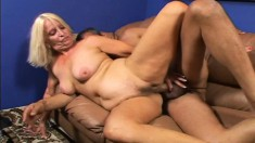 Stacked blonde milf Vikki Vaughn begs for a hard fucking on the couch