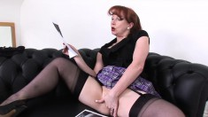 Sensuous redhead deeply fingers her holes and enjoys intense orgasms