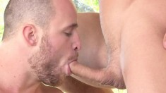 Handsome gay fucker enjoys himself while getting a hot blowjob