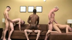 Handsome black boy joins five white guys for an interracial gay orgy