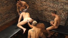 Muscled Jocks Enjoy A Cocksucking And Fisting Extravaganza In An Alley Orgy