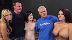 Mackenzee Pierce, Nikki Sexx and Jennifer White share a throbbing pole