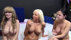Buxom Sluts Rikki, Loni And Scarlett Get Drilled By Three Hung Studs