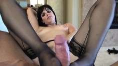 Slutty brunette in stockings takes every hard inch of cock up her ass