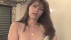Trashy lady Laura flaunts her lovely tits and delivers a hot blowjob