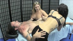 Striking girls Cameryn Coxxx and Miss Luminous control Kyle's big dick