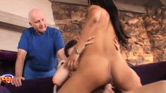 Buxom Latina with sexy legs has a stud fulfilling her cuckold fantasy