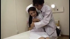 Japanese slut in uniform fucked all over his bed