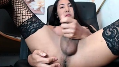 Asian shemale Arty fondles herself in solo cock masturbation