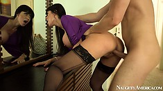 Eva Karera is a kinky brunette MILF wearing sexy stockings and getting banged