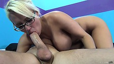 After getting drilled she goes back to giving him some nice head