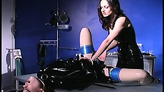 Skilled dominatrix can't wait to punish an eager young redhead