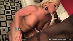 Busty Julie Cash is a steamy blond who loves interracial fucking