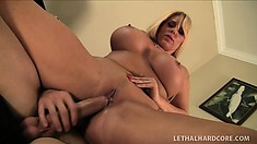 Curvacious blonde MILF, Karen Fisher gets tapped in her twat