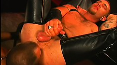 He fucks him in a swing with his cock and a dildo then swallows his jizz