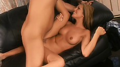 Exciting blonde college girl lies on the couch and gets drilled deep
