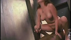 Cherry Poppins moves on top of a black stud and wildly fucks his cock