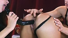 Pierced slut eats cunt while her two mistresses play with her holes