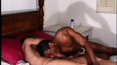 Dirty gay boy bends over for his black lover's monster schlong