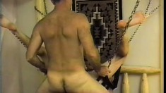 Horny gay friends indulge in bareback sex before cumming together