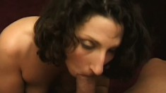 Sweet amateur brunette uses her tender tongue to make a cock pop