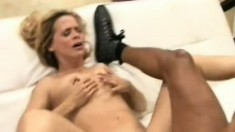 Pretty white MILF has an insatiable craving for huge black meat
