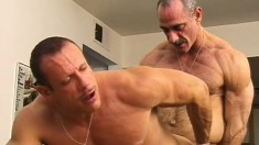 Hungry soldier stuffs the warm booty of horny mature gentleman