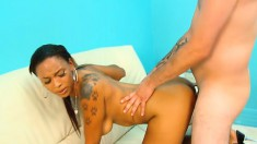 Porche Carrera blows on her knees then gets drilled and swallows