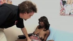 Coco lets his nibble on her chocolate twat then takes his vanilla schtick deep