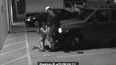 Slut gets naked and sucks off a guy on parking deck security cam