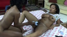 Uninhibited black lesbians love to play with each other's pussies