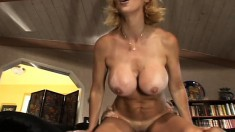 Stacked blonde milf is desperate to get her fiery peach drilled deep