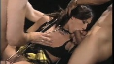 Kinky brunette Taylor Rain gets tied up and roughly pounded by two horny studs