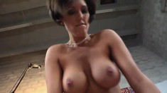 Short haired-screamer with a huge rack gets banged POV style