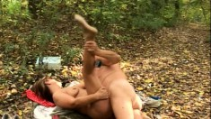 Elderly slut in glasses takes her man out to fuck in the woods