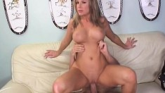 Fat titted bitch rubs her clit and asshole while riding a thick cock