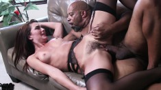 Oiled up brunette MILF with perky little tits gets blacked good