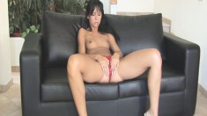 Striking young Suzie can't wait to take off her sexy red underwear