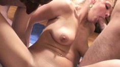 Heather takes a rod up her ass before getting drenched in cum and piss