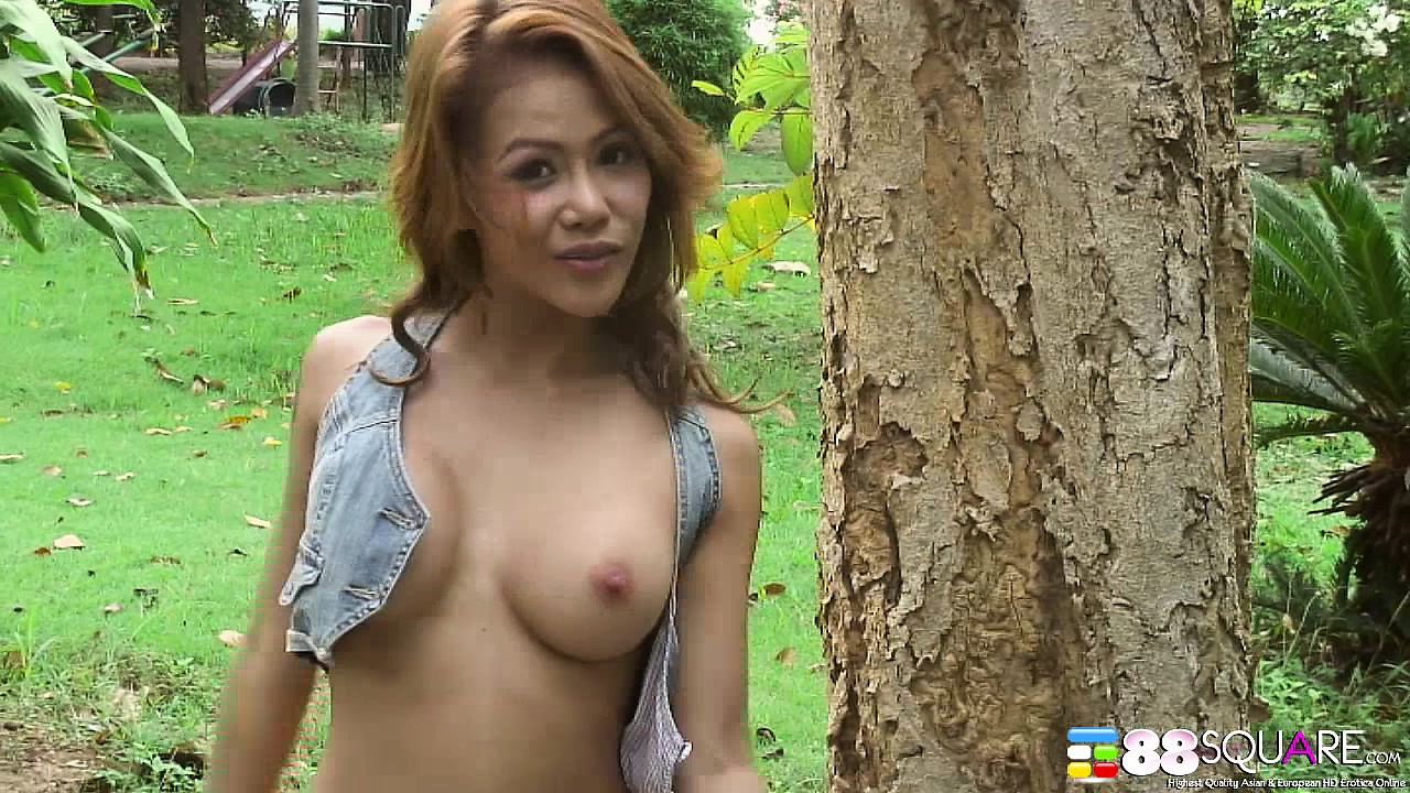 Asian naked outside