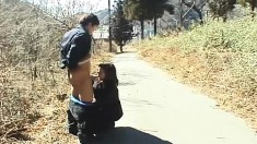 Japanese housewife puts her oral skills into action in a public place