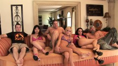 Kaiya Lynn and her friends are face fucked hard on the couch
