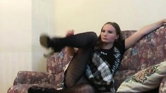 Galina wears her hot pantyhose and shows her nice ass while posing