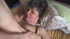 Skinny young dude goes for it with a busty granny and nails her