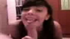 Sweet brunette teen with a cute smile reveals her great oral abilities