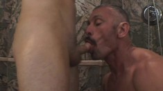Naughty bad boy gets into some cock-working action with a bald hunk