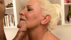 Curvaceous blonde mature gets banged deep and fast all over the couch