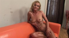 Kinky young blonde takes off her clothes and drinks her own piss